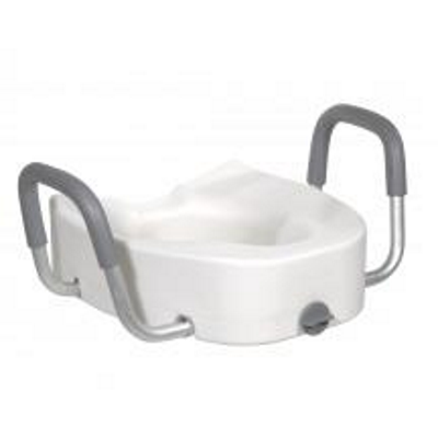raised toilet seat with arms and lock