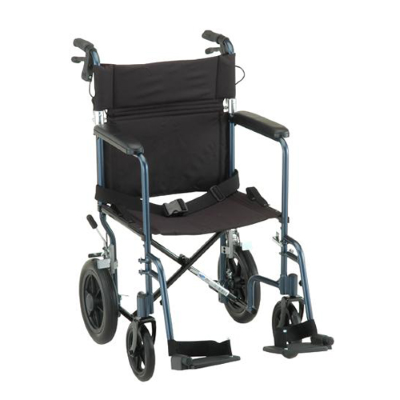 blue transport chair with large rear wheels