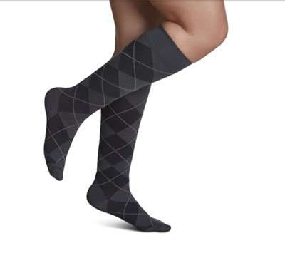 sigvaris microfiber shades calf compression socks graphite argyle stripe